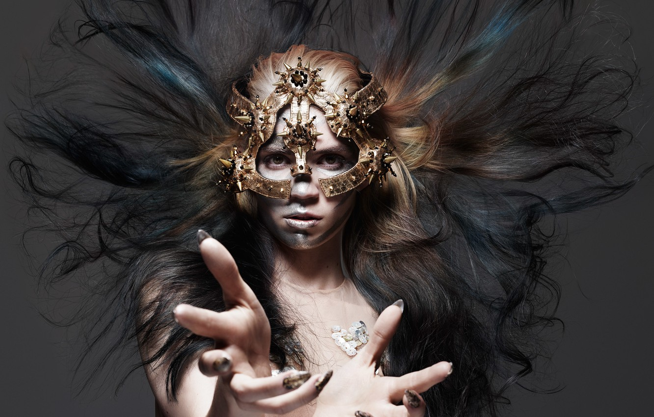 Photo wallpaper style, makeup, mask, hairstyle, photographer, singer, gesture, canadian, Hunger, 2015, Grimes, Rankin, Claire Boucher, Grimes