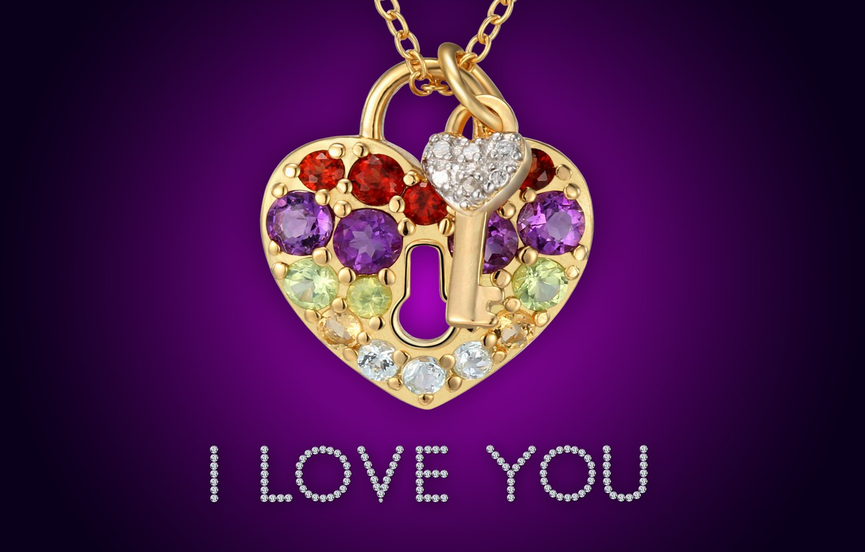 Photo wallpaper golden, love, i love you, heart, glamour, key, brilliant, diamonds, lock, design by Marika