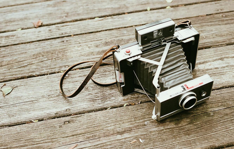 Photo wallpaper wood, camera, polaroid
