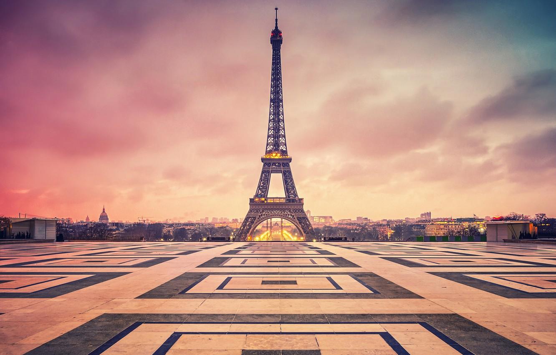 Photo wallpaper clouds, the city, France, Paris, the evening, area, Eiffel tower, Paris, twilight, France, La tour …