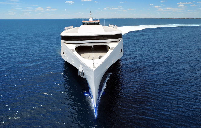 Photo wallpaper SEA, WHITE, SHIP, HORIZON, The SKY, FORM, DECK, SURFACE, The SHIP