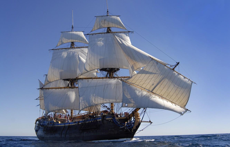 Photo wallpaper sea, the ocean, ship, sailboat