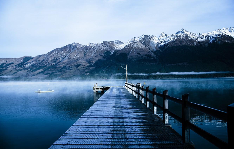 Photo wallpaper mountains, lake, pierce, nature, mountains, lake, pier