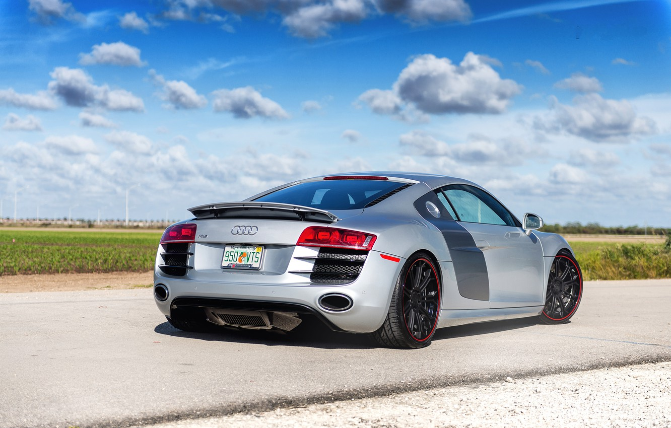 Photo wallpaper road, the sky, clouds, Audi, audi, silver, back, silvery