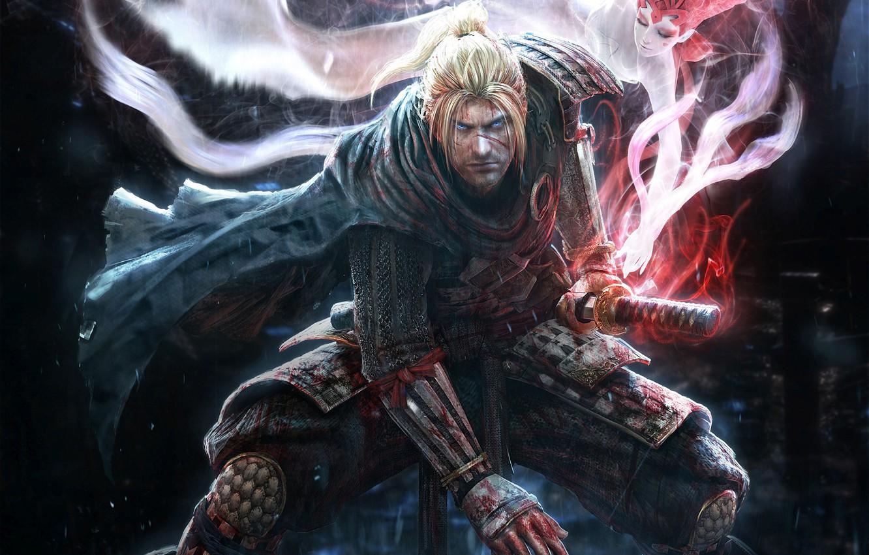 Photo wallpaper look, rain, magic, blood, spirit, sword, katana, warrior, armor, Samurai, ninja, scar, stand, Team Ninja, …