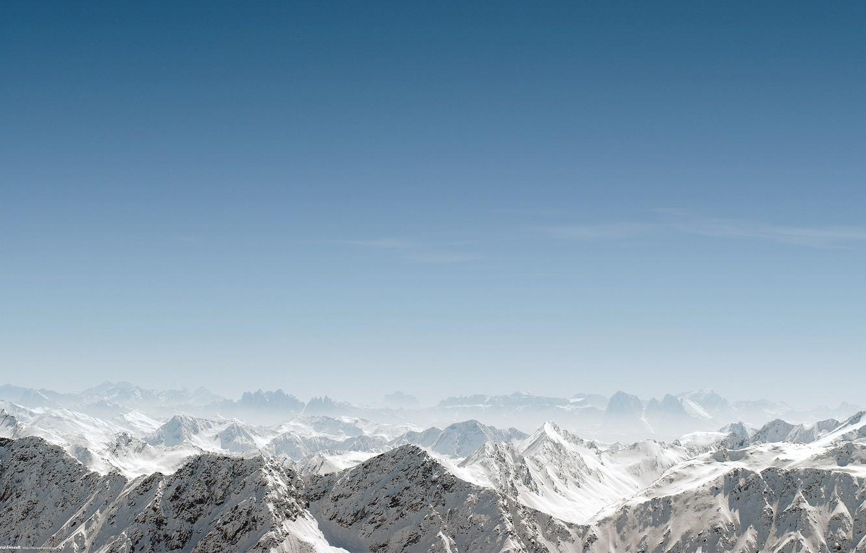 Photo wallpaper the sky, snow, landscape, mountains