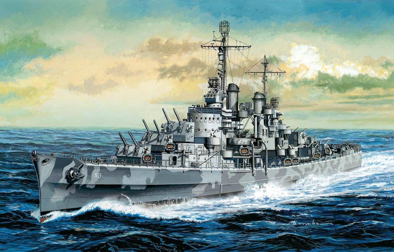 Photo wallpaper easy, ship, art, USA, Navy, Stroy, cruiser, Navy, San Diego, Atlanta, type, WW2., light, fleet, …