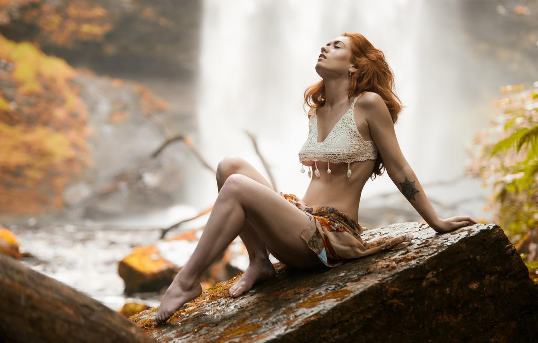 Photo wallpaper nature, pose, mood, stone, waterfall, red, redhead, Jenny O'sullivan, Jack Russell