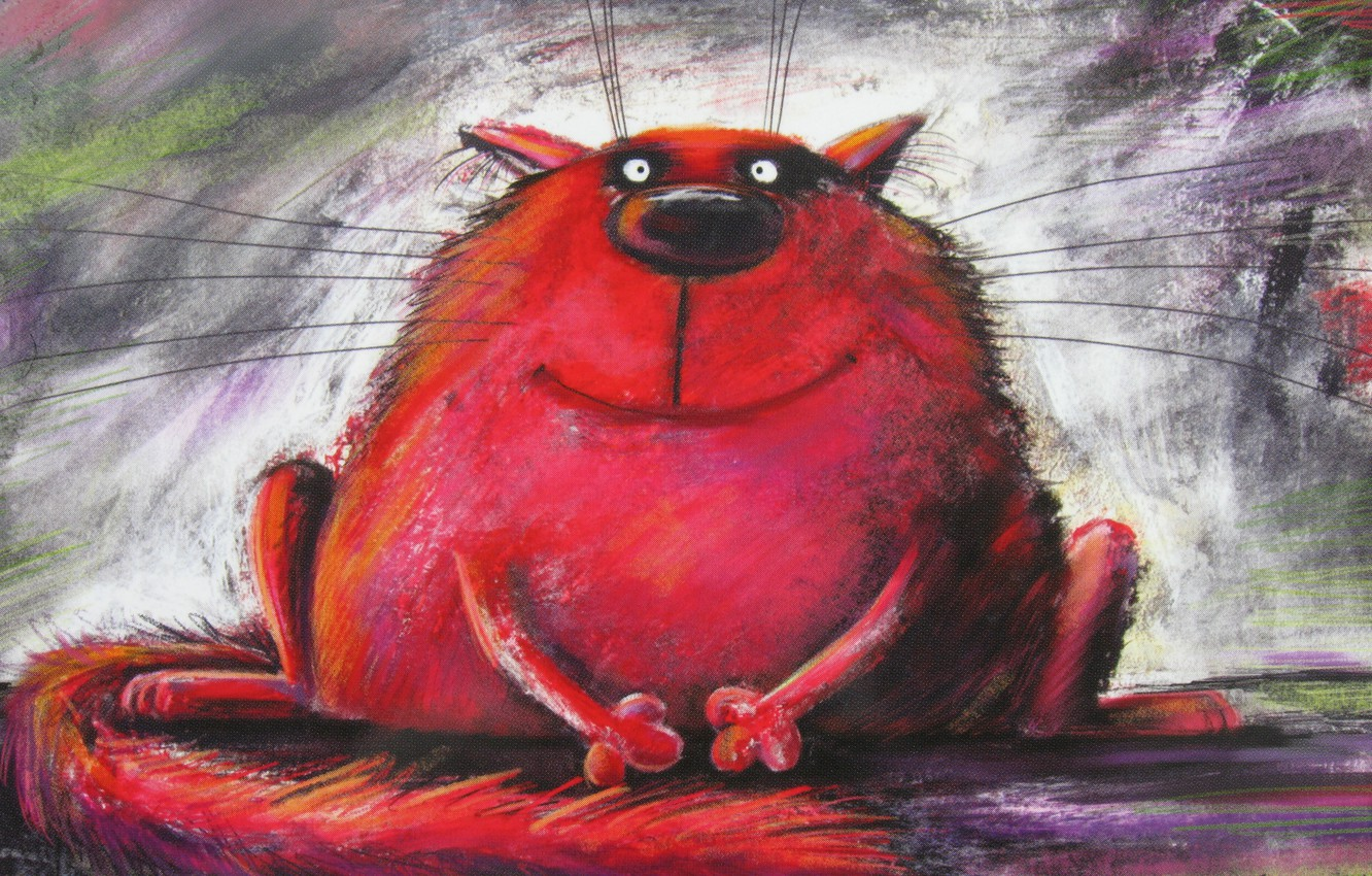 Photo wallpaper cat, red, painting