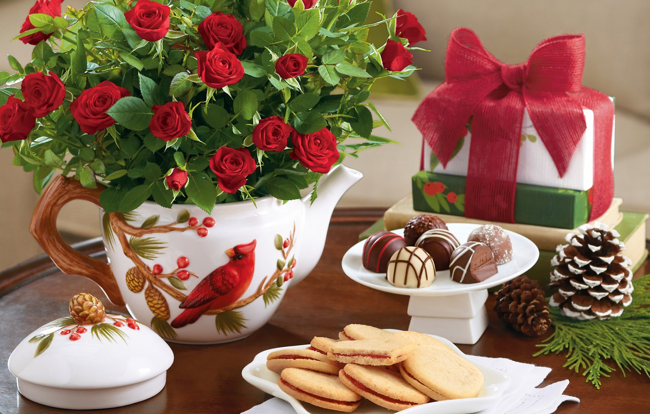Wallpaper Flowers Table Chocolate Roses Bouquet New Year