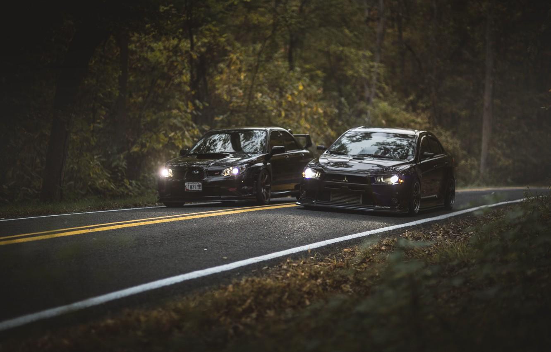 Photo wallpaper road, autumn, forest, leaves, trees, foliage, lights, Subaru, WRX, Mitsubishi, Lancer, Evolution, front, STI