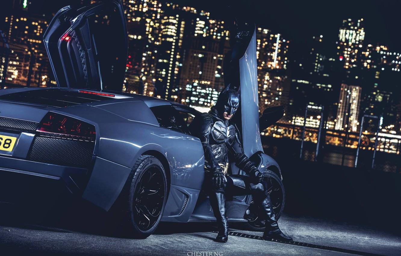 Photo wallpaper Lamborghini, Batman, Batmobile, Murcielago, Gray, LP640, CHESTER NG