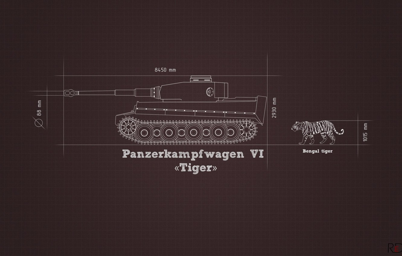 Photo wallpaper information, tiger, minimalism, tank, Tiger, heavy, German, comparison