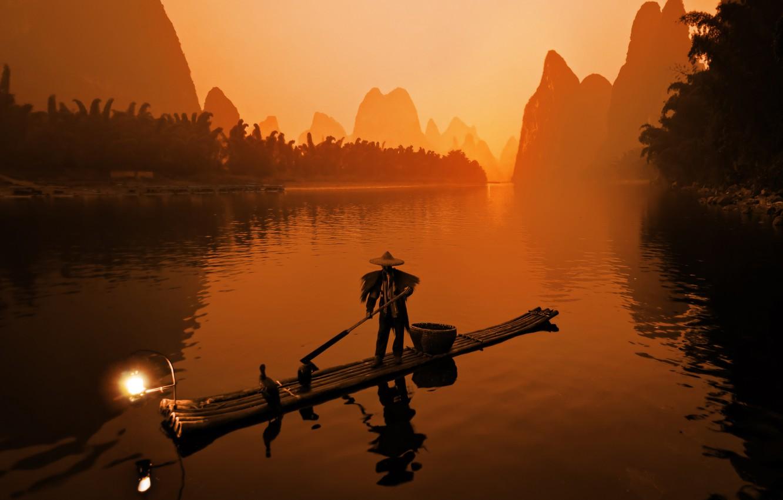 Photo wallpaper fisherman, River, the raft