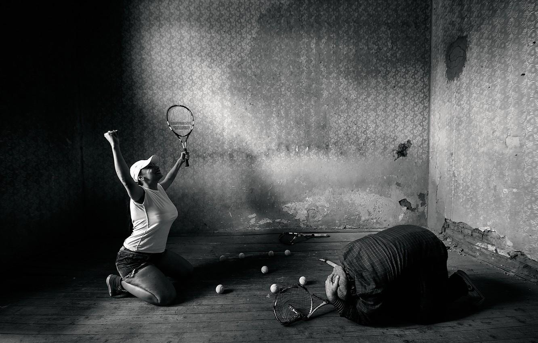 Photo wallpaper girl, victory, man, tennis