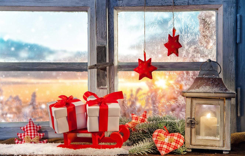 Photo wallpaper decoration, window, lantern, gifts, decoration