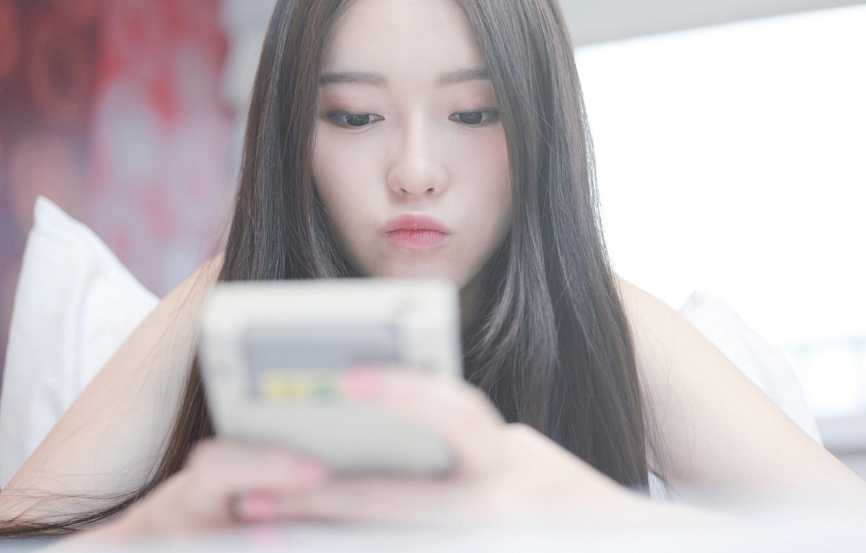 Photo wallpaper girl, face, background, hair, lips, Asian
