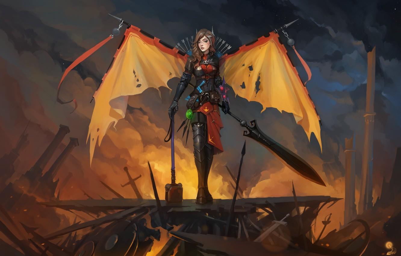 Photo wallpaper girl, wings, sword, hammer, fan art, dota 2, Legion Commander, tresdin
