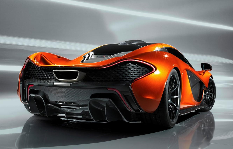 Photo wallpaper Concept, orange, background, McLaren, the concept, supercar, rear view, McLaren