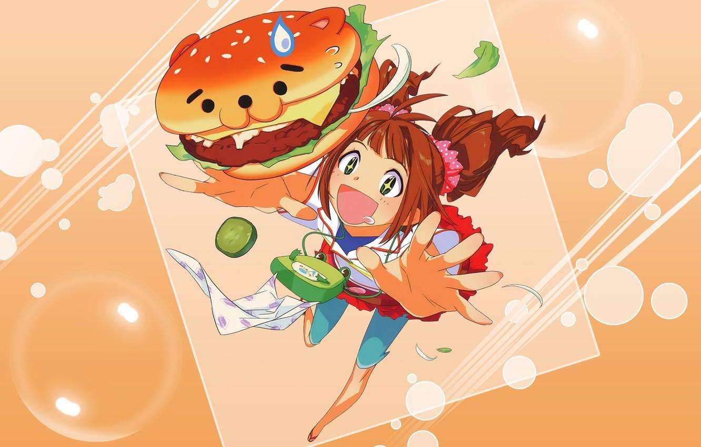 Photo wallpaper anime, girl, schoolgirl. Breakfast, artr