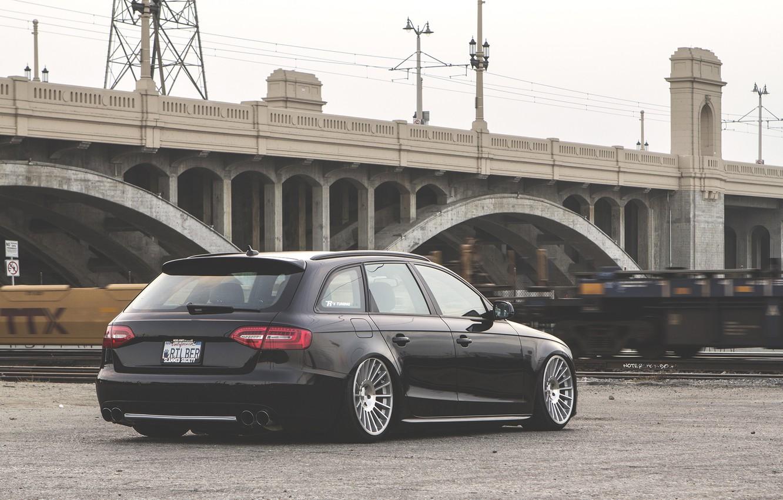 Photo wallpaper Audi, wheels, black, wagon, stance, before