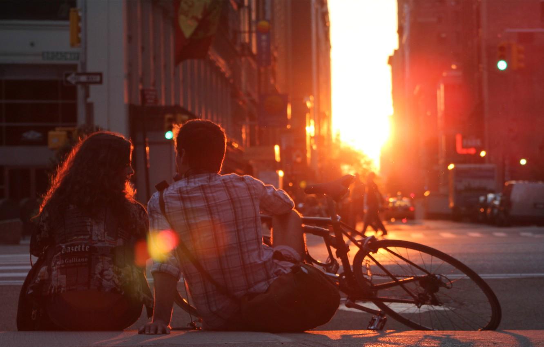 Photo wallpaper girl, the sun, love, sunset, bike, romance, pair, love, guy, sunset, couple, romantic, Romantic