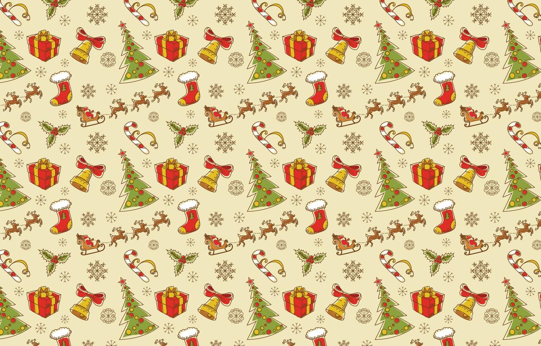 Photo wallpaper new year, Christmas, gifts, lollipops, tree, deer