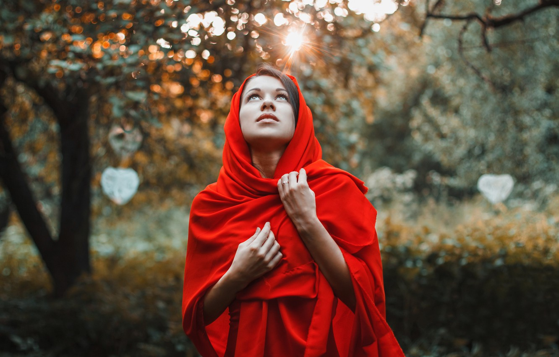 Photo wallpaper forest, girl, trees, sunset, red, garden, dress, Dress, fable