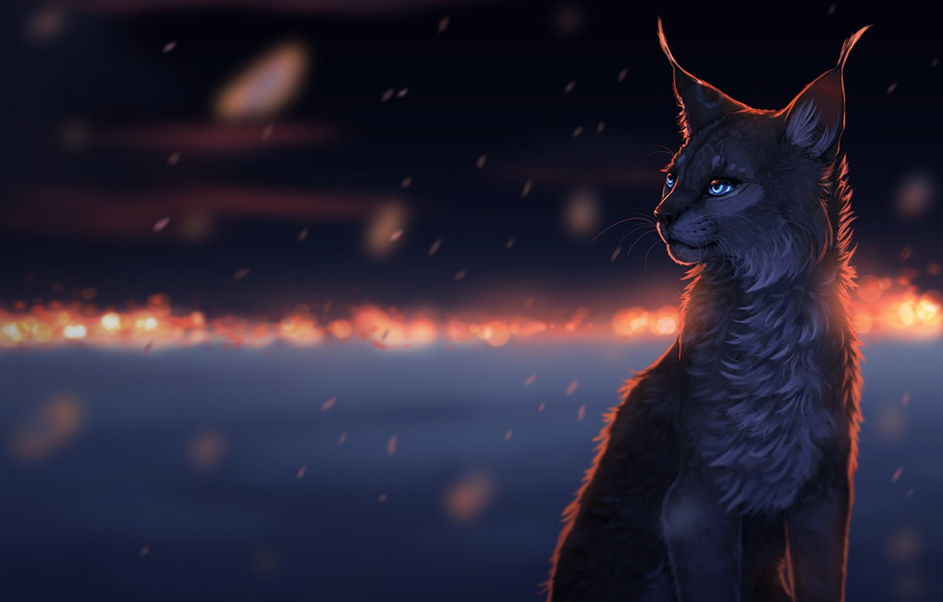 Photo wallpaper eyes, mustache, snow, snowflakes, night, lights, darkness, wool, nose, ears, lynx, cat, art, snow, sorrow, …