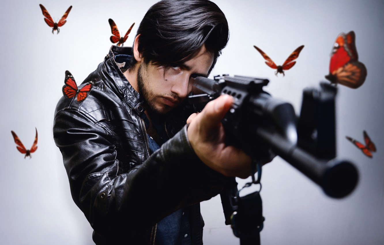 Photo wallpaper butterfly, weapons, people
