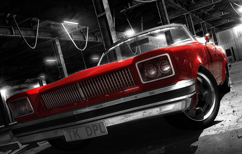 Photo wallpaper red convertible, style, retro