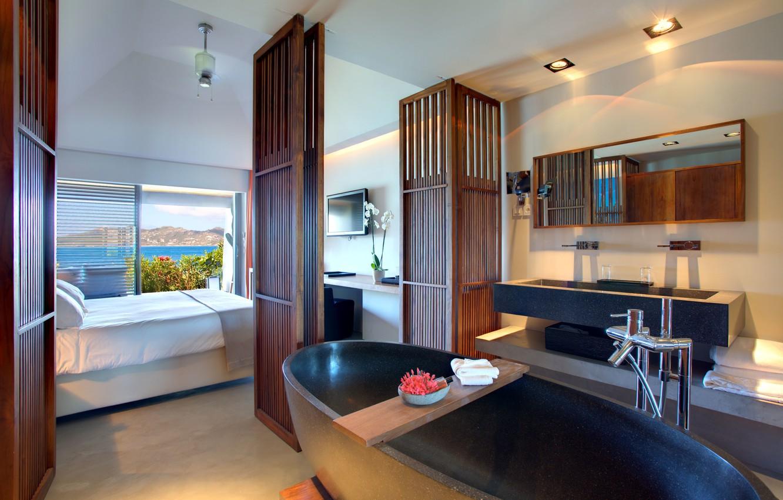 Photo wallpaper sea, mountains, room, Windows, bed, door, mirror, TV, bath, bathroom, the hotel, bedroom, hotel, room, …