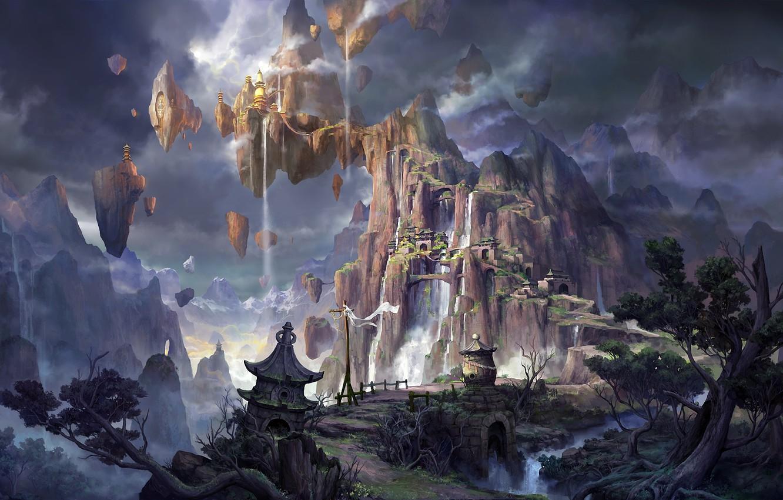 Photo wallpaper mountains, rocks, Asia, building, height, waterfall, fantasy, art, waterfalls