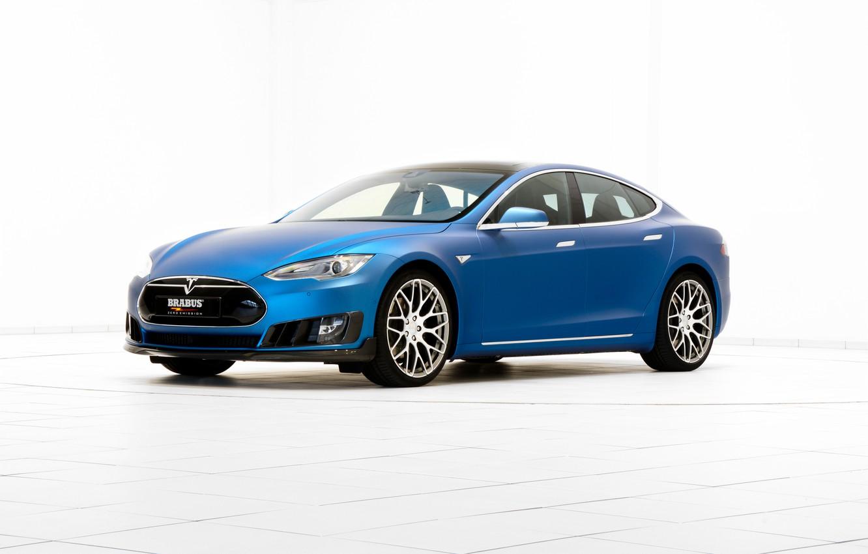 Photo wallpaper background, Brabus, Tesla, Model S, 2015, electrocar