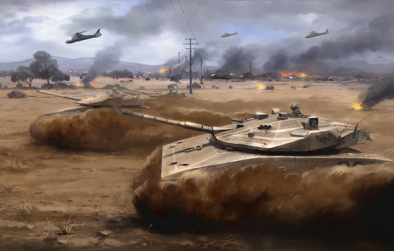 Wallpaper war, desert, helicopter, storm, tanks, Arma 3, dust  art