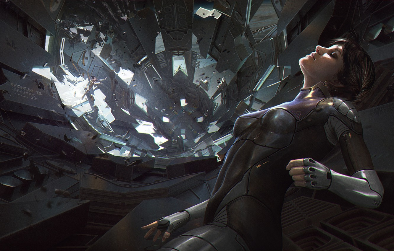 Photo wallpaper the wreckage, girl, space, fiction, figure, disaster, the suit, art, costume, space, girl, art, spaceship, …