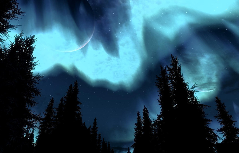Photo wallpaper aurora, night, Skyrim, brightness