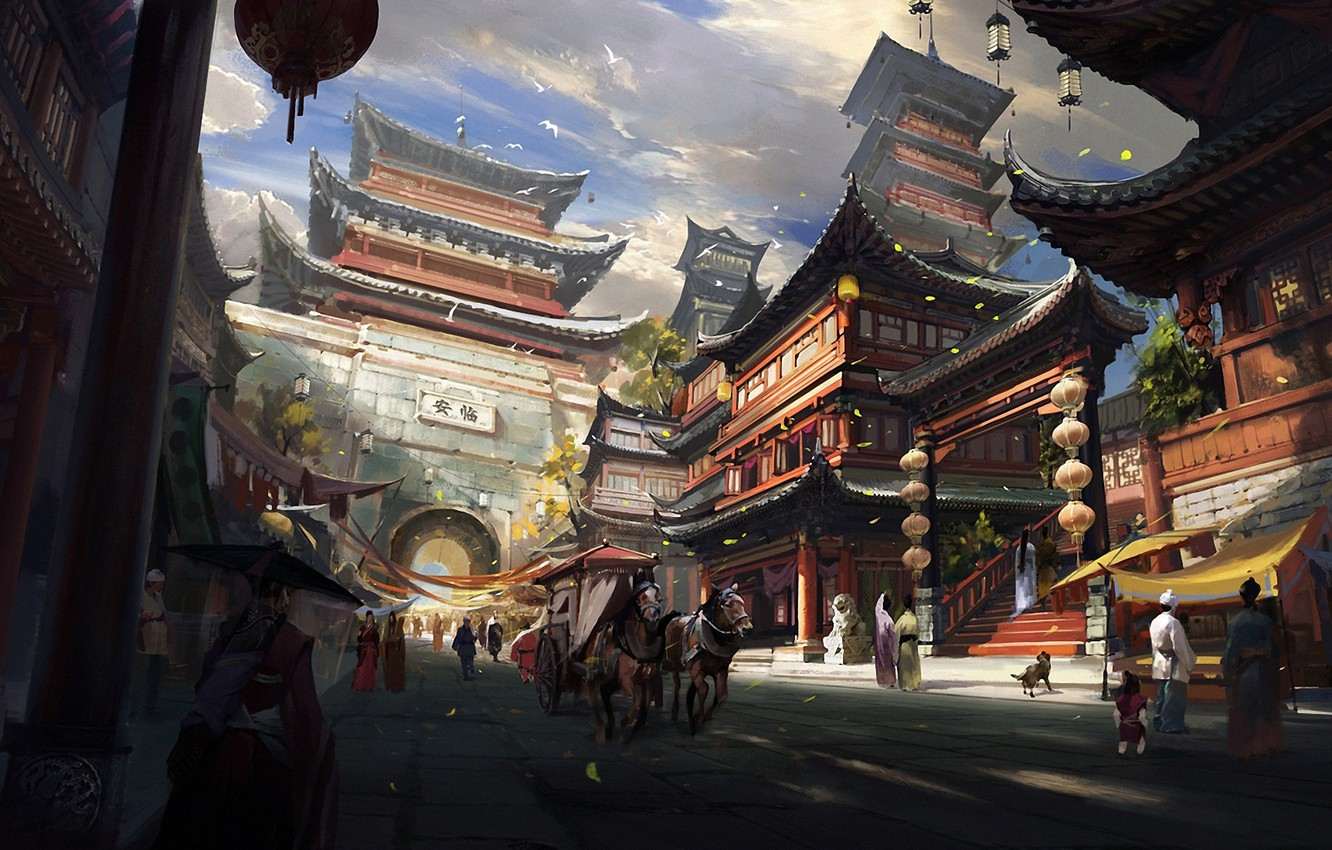 Photo wallpaper clouds, landscape, birds, the city, people, Asia, horses, home, dog, art, arch, temple, wagon