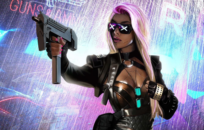 Photo wallpaper girl, weapons, fiction, glasses, blonde, sci-fi, Cyberpunk