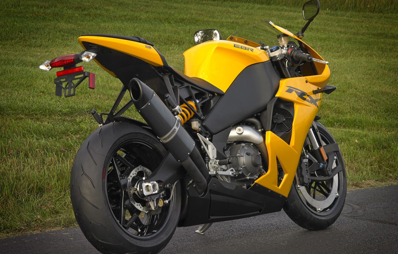 Photo wallpaper yellow, motorcycle, rear view, bike, yellow, EBR, 1198rx, the DLR