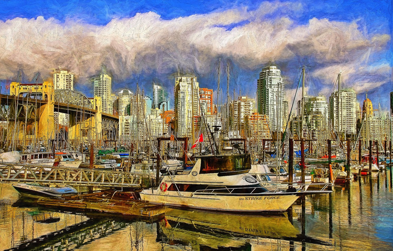 Photo wallpaper Marina, yachts, port, Canada, Vancouver, Canada, boats, Vancouver
