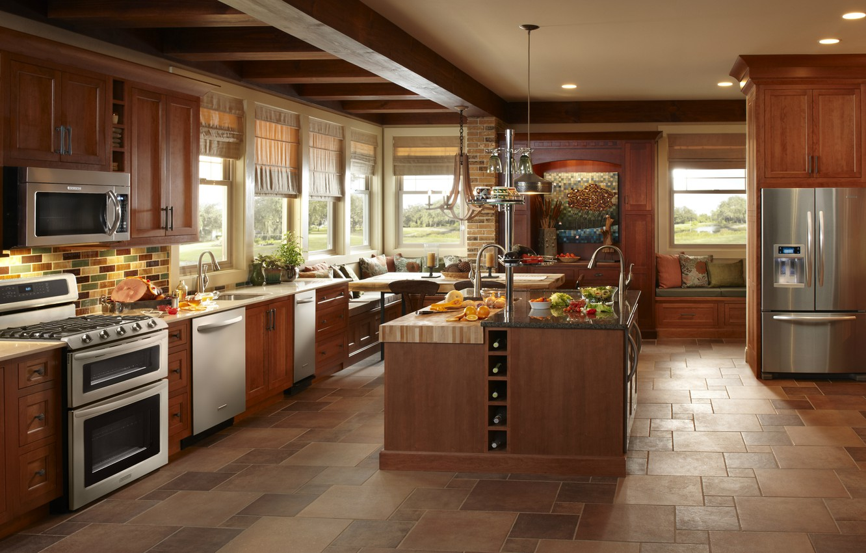 Photo wallpaper style, table, tree, technique, refrigerator, kitchen, plate, area, interior, furniture., kitchen, household