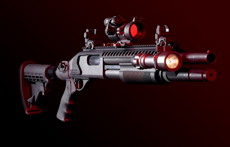 Photo wallpaper weapons, flashlight, shotgun, sight, weapon, Planck Picatinny