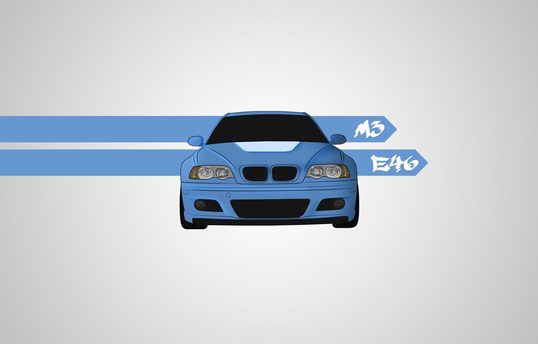 Wallpaper blue, vector, art, Bmw, e46 images for desktop ...