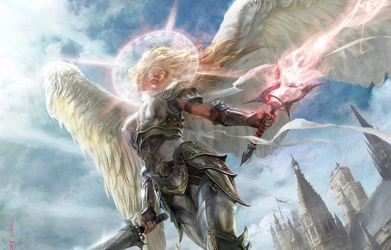 Photo wallpaper girl, light, the city, magic, armor, Angel, swords, halo, spires