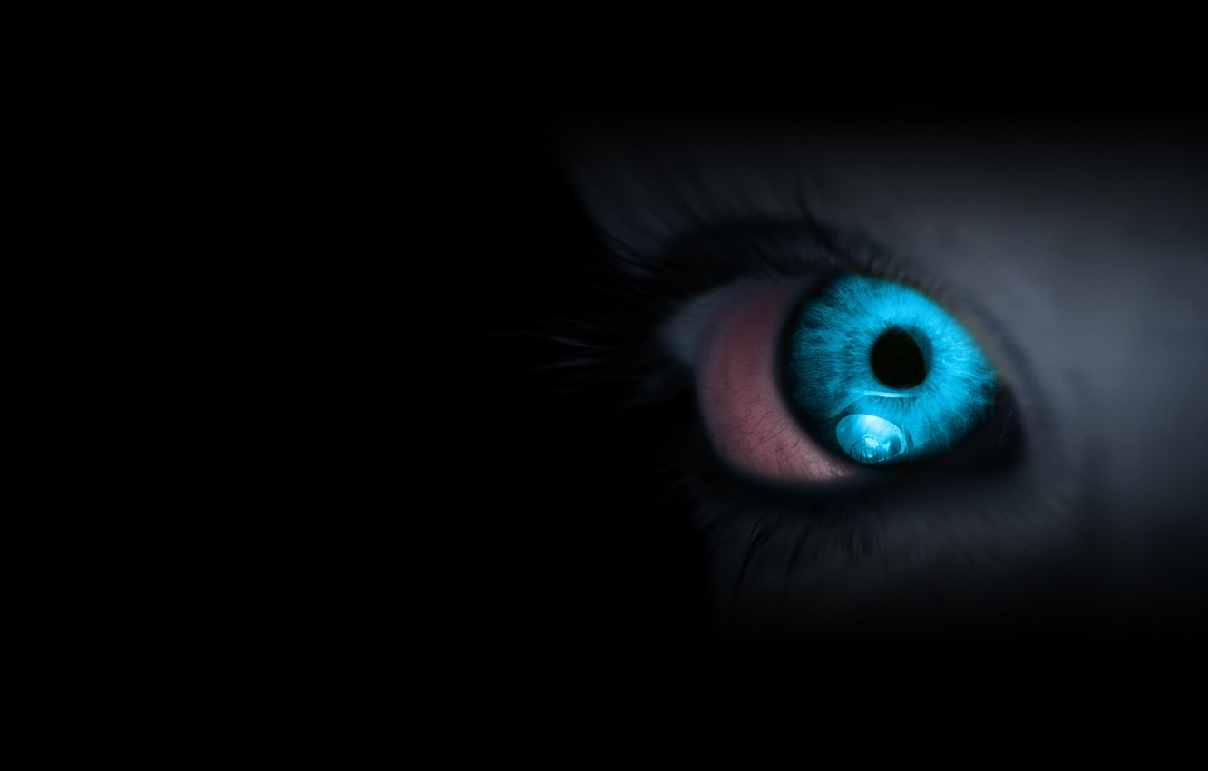Photo wallpaper eyes, darkness, blue