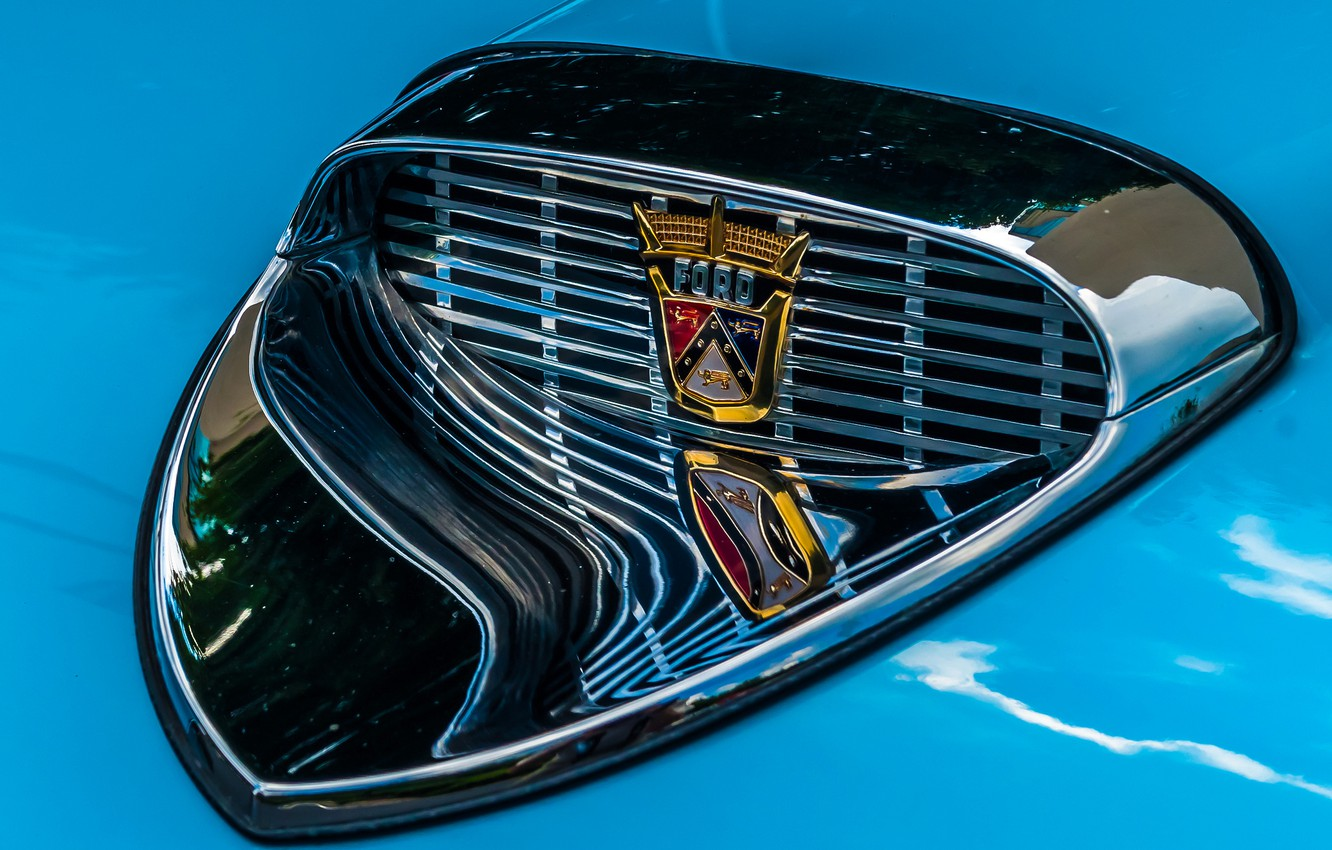 Photo wallpaper macro, Ford, grille, emblem