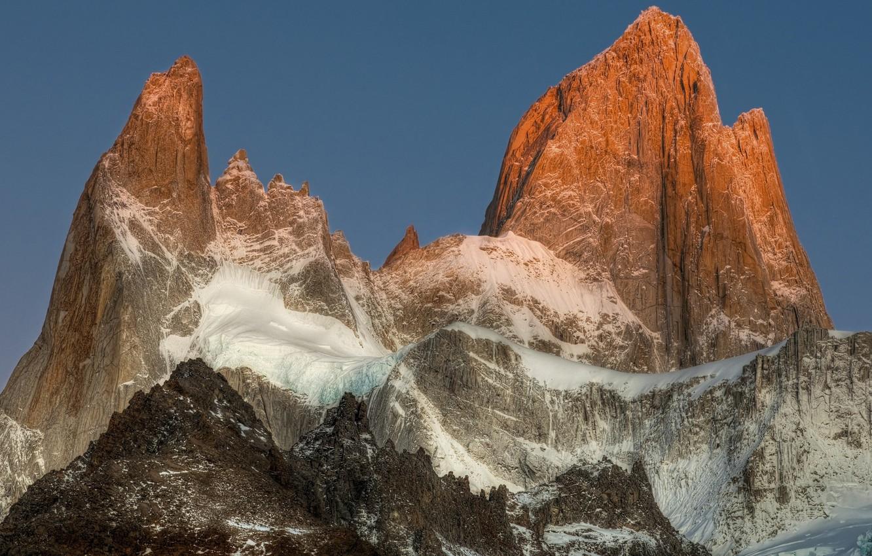 Photo wallpaper snow, mountains, top