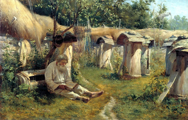 Photo wallpaper mood, picture, old man, beekeeper, Bogatov Nikolai