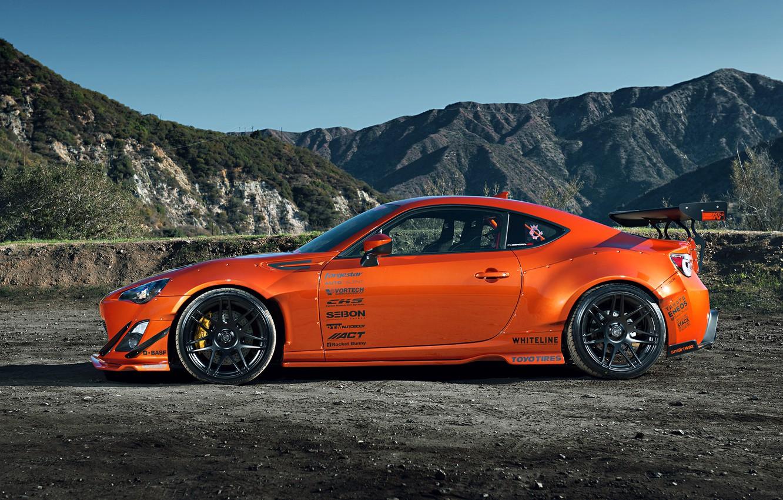 Photo wallpaper Orange, Toyota, Mountain, Style, Tuning, Wheels, Rims, Widebody, FR-S, Scion, Spoilers
